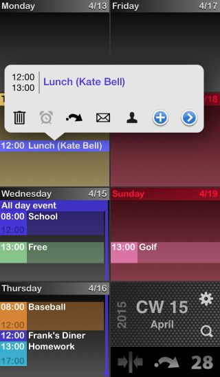 Weekly Calendar View For Iphone Scrollable : Easydays iphone ios calendar app with week view